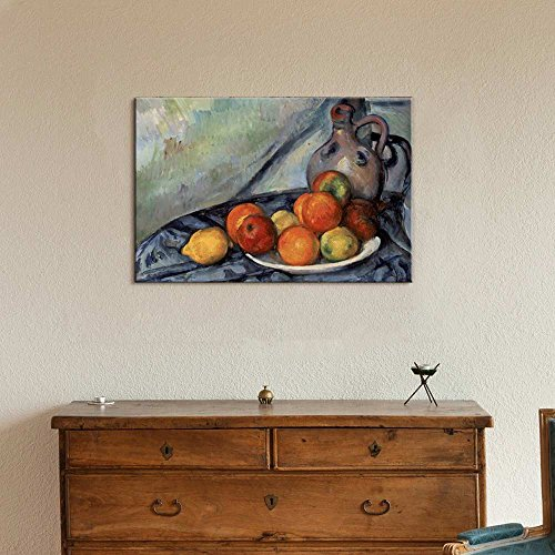 Fruit and a Jug on a Table by Paul Cezanne Print Famous Painting Reproduction