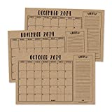 Rustic 2020 Large Monthly Desk or Wall Calendar Planner, Big Giant Planning Blotter Pad, 18 Month Academic Desktop, Hanging 2-Year Date Notepad Teacher, Mom Family Home Business Office 11x17'