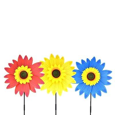 TOYANDONA Sunflower Windmill Toys Wind Spinners Lawn Pinwheels Patio Lawn Garden Decorations 3 Pieces (Random Color): Garden & Outdoor