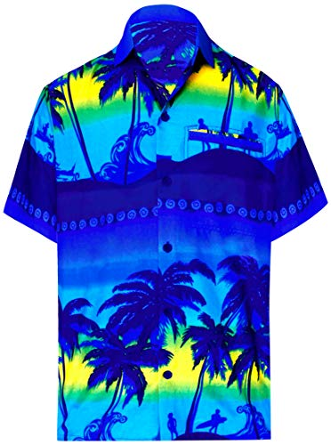 LA LEELA Likre Polyester Party Shirt Bright Blue 443 Small | Chest 38