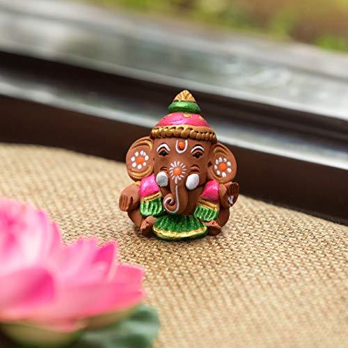 ExclusiveLane Terracotta Handpainted Baby Car Ganesha -Idols and Figurines Showpieces Home Decor (EL-014-032)