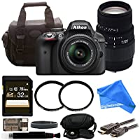Nikon D3300 DSLR Camera Bundle with 18-55mm & 70-300mm Lenses + 32GB SD Card + Ultimate DigitalAndMore Accessory Bundle