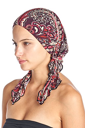 Do Wrap Stretch Cap - Ashford & Brooks Women's Pretied Printed Fitted Headscarf Chemo Bandana - Paisley Wine