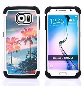 """Samsung Galaxy S6 / SM-G920 - 3 en 1 impreso colorido de Altas Prestaciones PC Funda chaqueta Negro cubierta gel silicona suave (Árboles Magia Cielo Verano"""")"""
