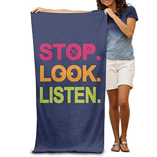 ShanxianP Funny Stop Look Listen Soft Lightweight Beach Towel Pool Towel (Lowrider Womens Socks)