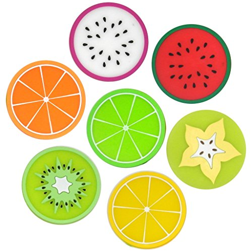 TrendBox 1 Set (7 Tropical Fruits) Heat Resistance PVC Silicone Drinks Coaster Cup Pads Flexible Washable For Kitchen Home Design Mats
