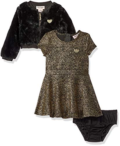 Juicy Couture Baby Girls 2 Pieces Dress Set Gold Print/Black -