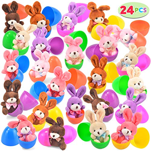 "24 PCs Filled Easter Eggs with Plush Bunny, 3.2"" Bright Colorful Easter..."