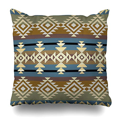 (NOWCustom Throw Pillow Cover Aztec Navajo Inspired Geometric Pattern Wool Abstract Ethnic American Native Striped Zippered Pillowcase Square Size 16 x 16 Inches Home Decor Cushion Case)