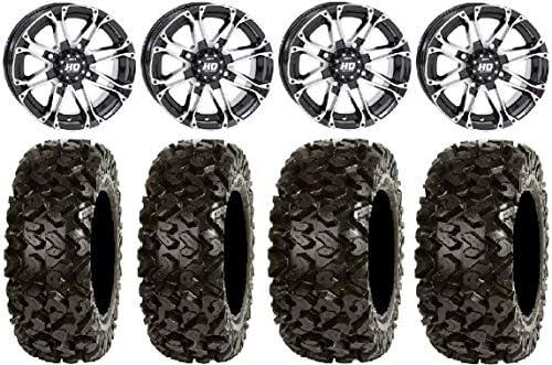 Bundle STI HD3 14 Wheels Black 27 Buck Snort Tires 4x156 Bolt Pattern 10mmx1.25 Lug Kit 9 Items