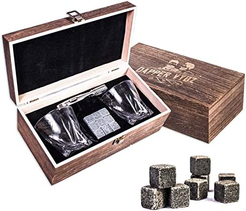 Whiskey Stones Gift Set by Dapper Vybz 9 Granite Chilling Rocks with 2 Scotch Bourbon Glasses Unique Gifts for Men Dad Boyfriend Husband on a Birthday Anniversary or Retirement