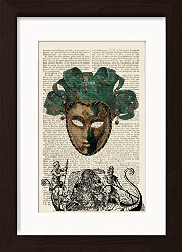 Venitian Mask With Gondola Engraving Venice Italy Print Mounted / Matted Ready To Frame Dictionary Art Print - Venice Engraving