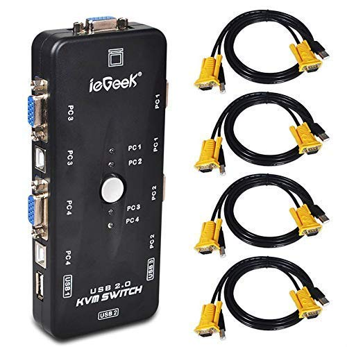 ieGeek USB KVM Switch Box + VGA USB Cabl...