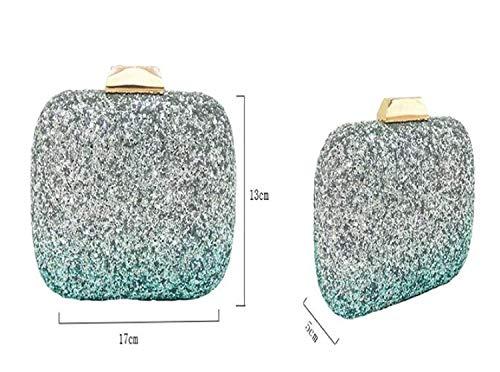 Lentejuelas Azul Embrague Gradient Cena Bolsa Color Plata Para color Tamaño Messenger Bag Moontang De Shoulder Con nqwOEgAOYT