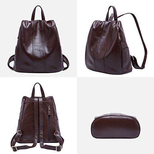 Coffee Bag theft Ladies Daypack Anti Shoulder Womens Travel for Leather BOYATU Large Backpack 7xwAppqT