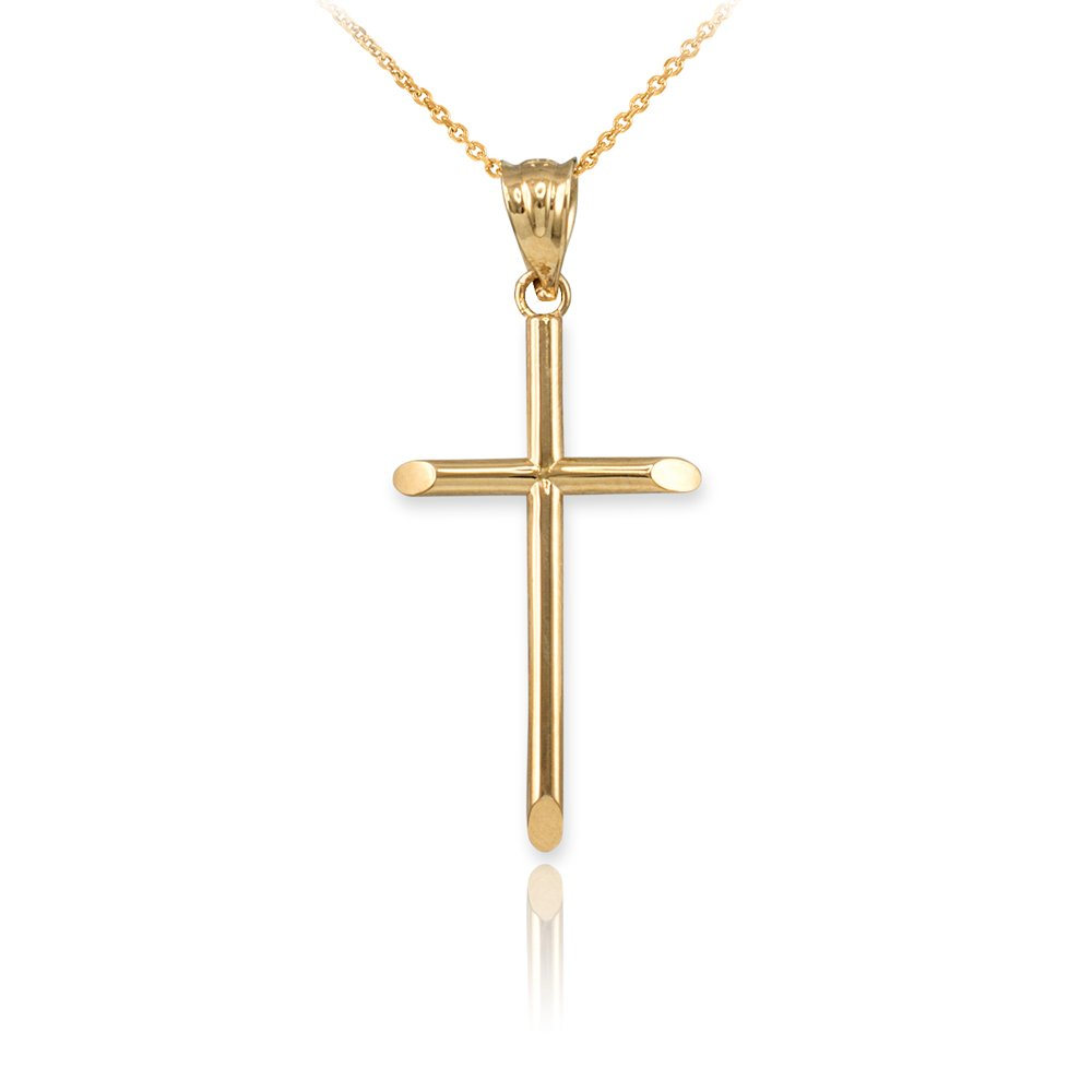 Polished 14K Yellow Gold Tube Cross Baby Charm Necklace (S-1.15'') (20)