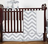 Gray and White Chevron ZigZag Gender Neutral Baby Bedding 4 Piece Boy or Girl Crib Set Without Bumper