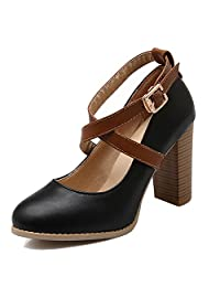 ENMAYER Women's Crossed Buckled Strap High heel Mary Jane Pumps for Spring and Summer