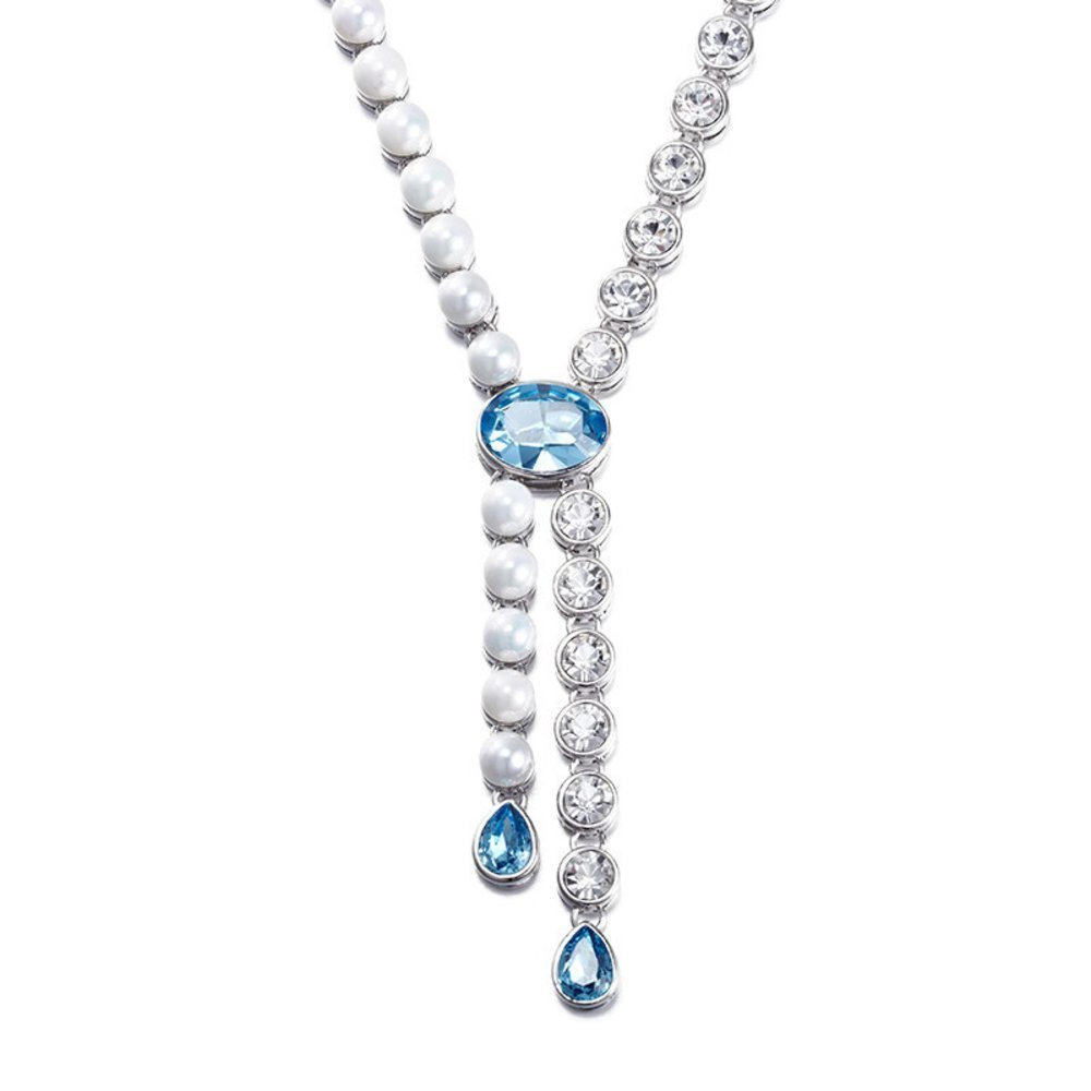 0b6580caaa5c Buy NEVI Party Stylish Designer Wear Crystals From Swarovski Pearl Rhodium  Plated Matinee Charm Necklace Jewellery for Women   Girls (Blue   White)  Online ...
