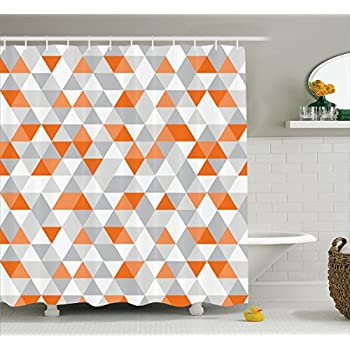 Triangles Argyle Polygon Patterns Vibrant Colors Zig Zag Fashion Ornament Design Polyester Fabric Bathroom Shower Curtain Set With Hooks Orange Grey