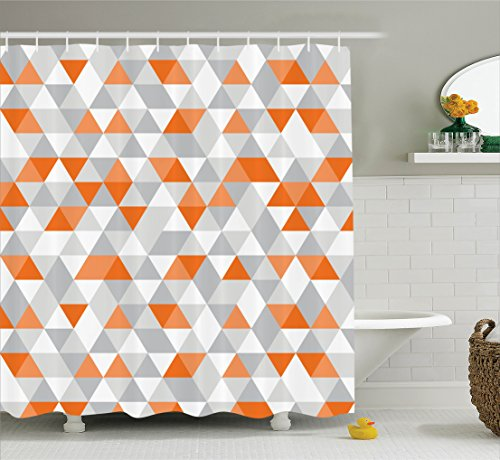 Ambesonne Geometric Decor Collection, Triangles Argyle Polygon Patterns Vibrant Colors Zig Zag Fashion Ornament Design, Polyester Fabric Bathroom Shower Curtain Set with Hooks, Orange Grey White