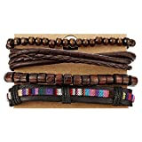 COOLSTEELANDBEYOND Mix 4 Brown Wrap Bracelets Men Women, Wood Beads Ethnic Tribal Bracelets, Leather Cotton Wristbands