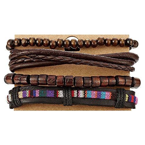 COOLSTEELANDBEYOND Mix 4 Brown Wrap Bracelets Men Women, Wood Beads Ethnic Tribal Bracelets, Leather Cotton Wristbands by COOLSTEELANDBEYOND