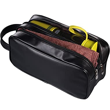 HappyDavid Leather Zipped Travel Toiletry Bag Mens Ladies Supply Toiletry Bag Case(black)