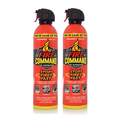 Fire Command Fire Extinguishing Aerosol Foam Spray Fire Suppressant, 16 oz - Pack of 2 by Fire Command