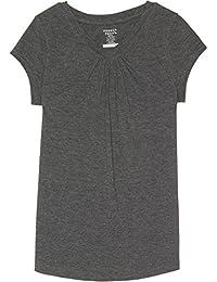 French Toast School Uniform Girls Short Sleeve V-Neck T-Shirt with Front Gathers