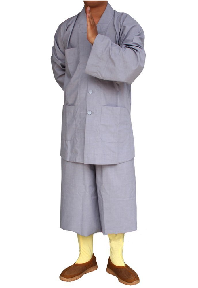ZooBoo Men's Traditional Shaolin Kung Fu Robe Meditation Long Gown Suit (Light Gray, XXS/155) by ZooBoo