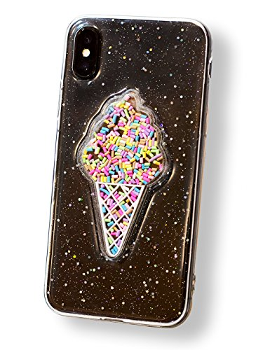 iPhone X Case Glitter 3D Sparkle Ice Cream, Sparkly 3D Cute Ice cream, Clear Slim Soft Case, Unique Design, For Protection, Gift, Decoration, Couple (iPhone X, Clear)