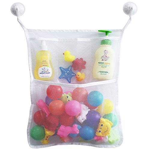 - FZY Bath Toy Organizer Quick Dry Bathtub Mesh Net - Massive Baby Toy Storage Bin + 3 Soap Pockets with 2 Strong Suction Hooks (White )