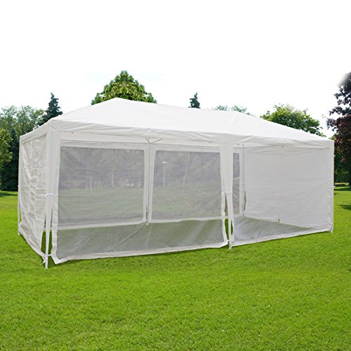 (Quictent Outdoor Canopy Gazebo Party Wedding Tent Screen House Sun Shade Shelter with Fully Enclosed Mesh Side Wall (10'x20', White))