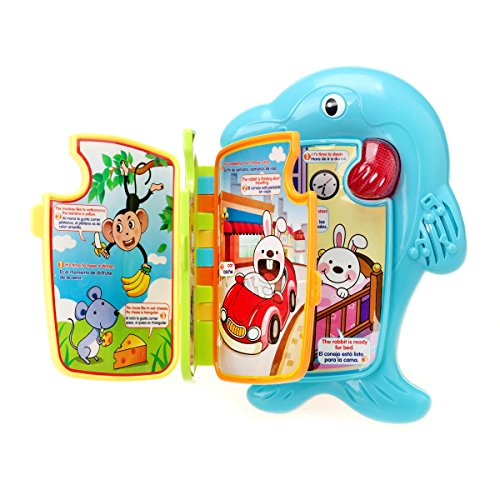 Learning Toys KAWO Early Educational Dolphin Interactive Story book Flip Flap Book with baby Toys English&Spanish (Interactive Math Games For Halloween)