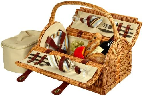 Picnic at Ascot Sussex Willow Picnic Basket with Service for 2 – Santa Cruz