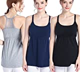 SUIEK Nursing Top Tank Cami Maternity Shirt Sleep Bra For Breastfeeding 3PCS/Pack (Large, Black + Navy + Grey (3/Pack))