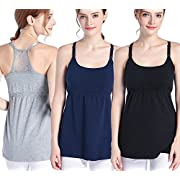 SUIEK 3PACK Nursing Top Tank Cami Maternity Shirt Sleep Bra for Breastfeeding (Medium, Black + Navy + Grey (3/Pack))