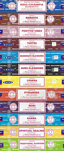 Indian Temple Incense - Set of 12 Nag Champa Namaste Positive Vibes Tantra Buddha Blessing Aura Cleansing Chakra Pyramids Reiki Karma Spiritual Healing Traditional Ayurveda by Satya