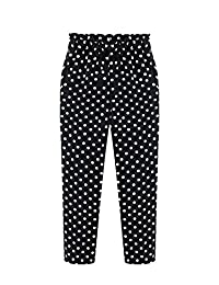 Wicky LS Women's Polka Dot and Striped Harem Pants Drawstring Waist