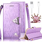 iPhone 5C Case,Vandot 3in1 Set Exclusive Bling Glitter Book Style Wrist Strap Wallet Pouch Phone Case For Apple iPhone 5C PU leather Magnetic Closure Flip Stand Anti-scratch Cover Skin+Diamond Imperial Crown Anti Dust Plug+USB Data Cable -Purple