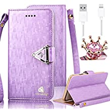 iPhone 4 4S Case,Vandot 3in1 Set Exclusive Bling Glitter Book Style Wrist Strap Wallet Pouch Phone Case For Apple iPhone 4 4S PU leather Magnetic Closure Flip Stand Anti-scratch Cover Skin+Diamond Imperial Crown Anti Dust Plug+USB Data Cable -Purple