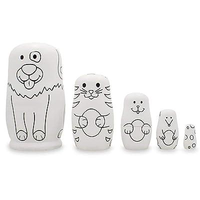 BestPysanky 5 Unpainted Animals Wooden Nesting Dolls Matryoshka 4.75 Inches: Toys & Games