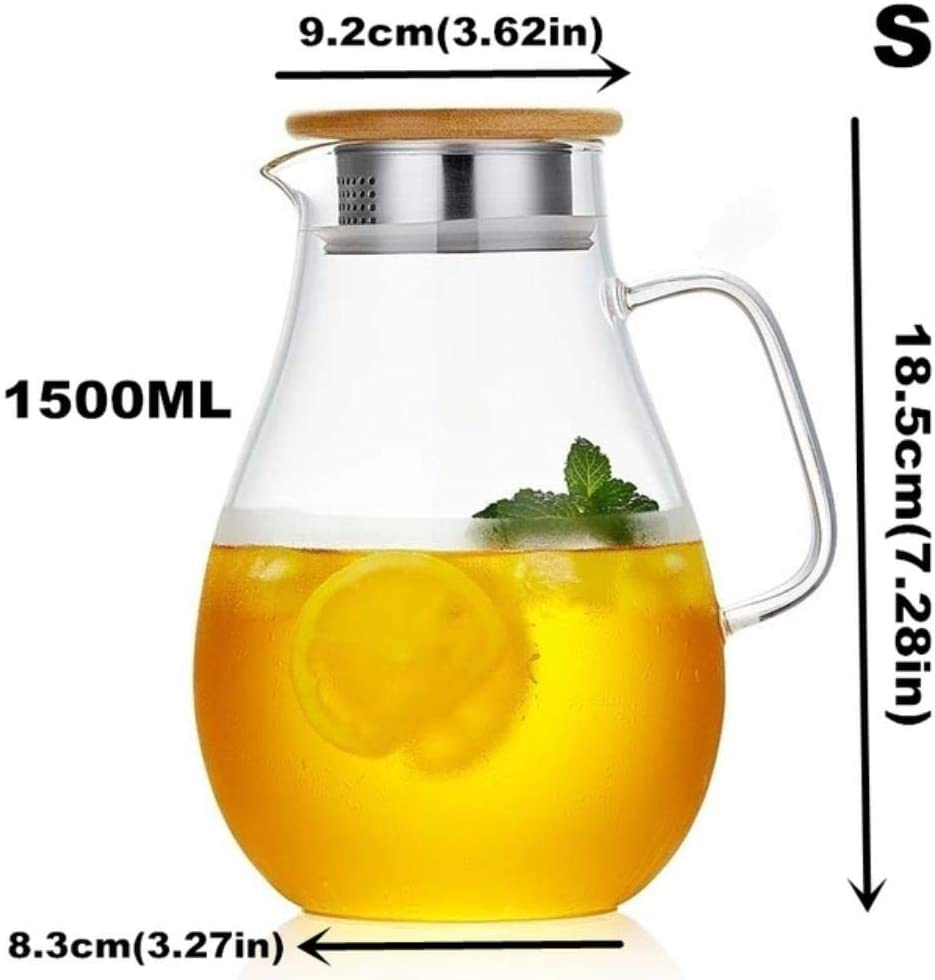 LCK Glass Infuser Teapot Heat-Resisting Tea Pot with Stainless Steel Lid Cold Water Kettle,1500mlbambooS
