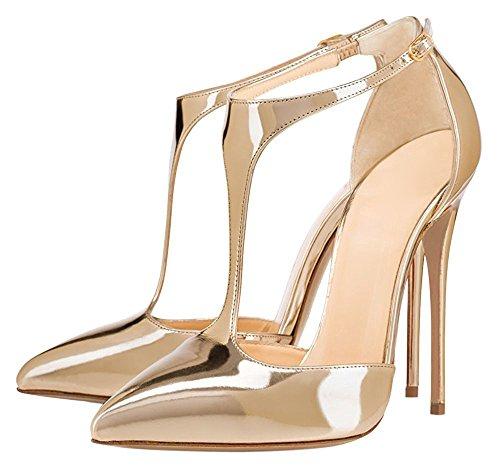 uBeauty High Heels Damenschuhe Lackleder T-Spangen Übergröße Pumps für Hochzeit Party Gold