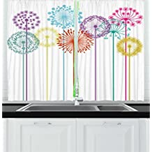 Ambesonne Floral Decor Kitchen Curtains, Flower Decorations Colorful Dandelions on White Background Illustration, Window Drapes 2 Panels Set for Kitchen Cafe, 55W X 39L Inches, Multicolored
