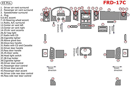 Dash Overlay Kit ITEM# FRD-17C-STBW Ford F150 (XLT Supercab Only), For Models With Power Windows, With Bench Seat, 45 Piece Set, Titanium Burl Wood