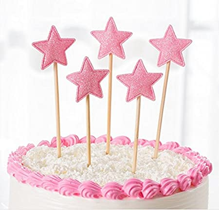 12 x GLITTER PINK STARS Cupcake toppers Picks Birthday decoration Cake toppers