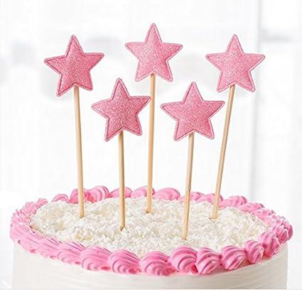 JANOU Star Cake Topper Pink Glitter Sponge Cupcake Picks For Wedding Birthday Party Decoration Pack
