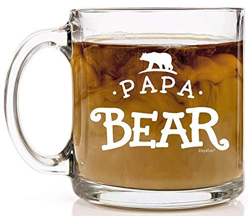 Shop4Ever Papa Bear Novelty Glass Coffee Mug Tea Cup Gift ~ Fathers Day ~ (13 oz, Clear)